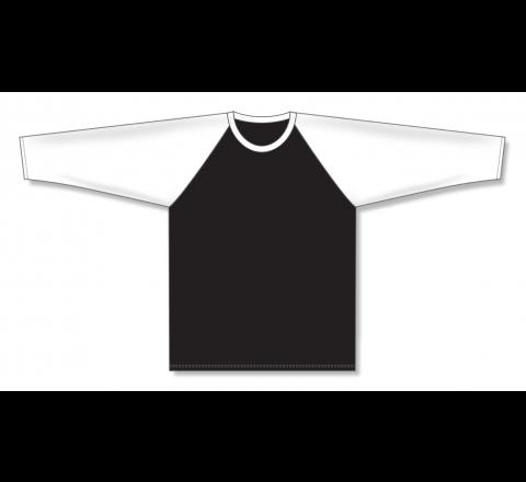 Pullover Long Sleeve Baseball Jerseys - Black/White