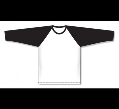 Pullover Long Sleeve Baseball Jerseys - White/Black