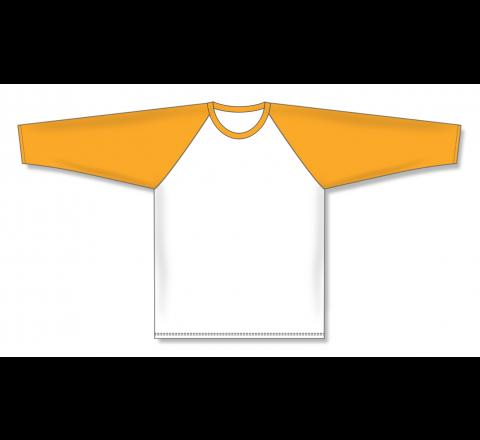 Pullover Long Sleeve Baseball Jerseys - White/Gold