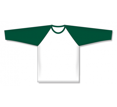 Pullover Long Sleeve Baseball Jerseys - White/Dark Green