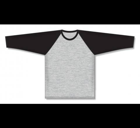 Pullover Long Sleeve Baseball Jerseys - Heather Grey/Black