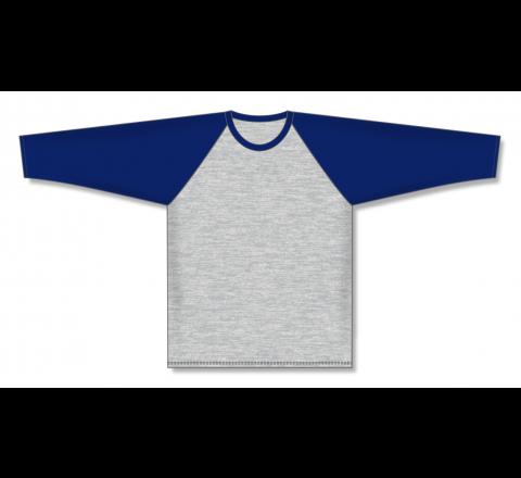 Pullover Long Sleeve Baseball Jerseys - Heather Grey/Navy