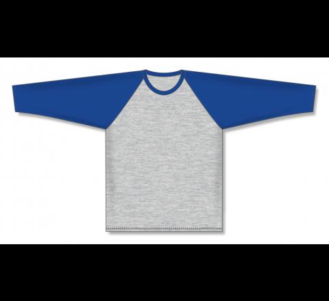 Pullover Long Sleeve Baseball Jerseys - Heather Grey/Royal
