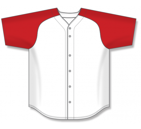 Full Button Baseball Jerseys - White/Red