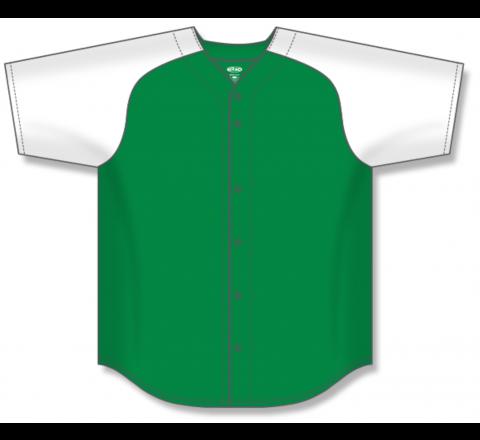 Full Button Baseball Jerseys - Kelly/White