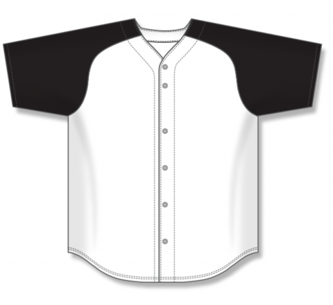 Full Button Baseball Jerseys - White/Black