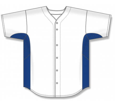 Full Button Baseball Jerseys - White/Royal