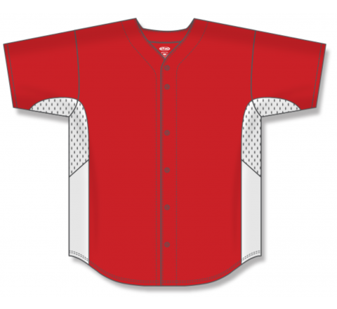 Full Button Baseball Jerseys - Red/White