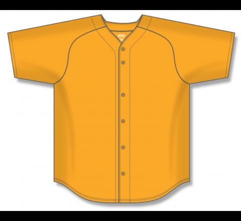 Full Button Baseball Jerseys - Gold
