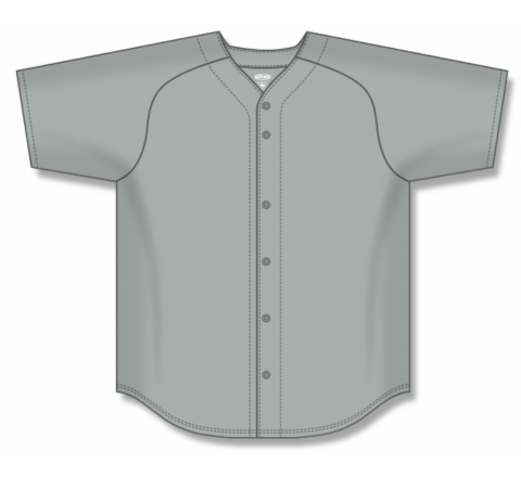 Full Button Baseball Jerseys - Grey