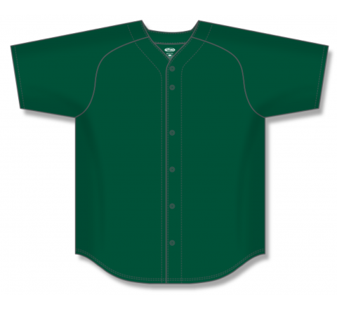 Full Button Baseball Jerseys - Dark Green