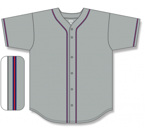 Full Button Baseball Jerseys - Grey/Navy/Red