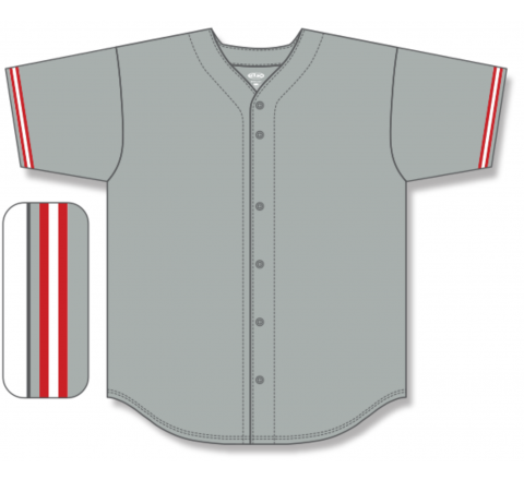 Full Button Baseball Jerseys - Grey/Red/White