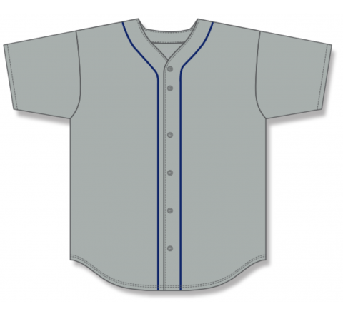 Full Button Baseball Jerseys - Grey/Navy