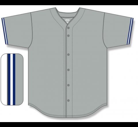 Full Button Baseball Jerseys - Grey/Navy/White