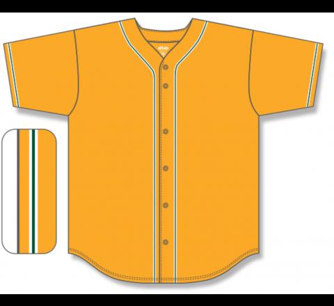 Full Button Baseball Jerseys - Gold/White/Dark Green