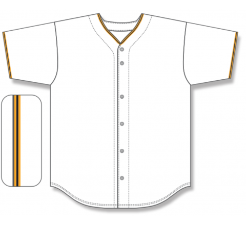 Full Button Baseball Jerseys - White/Gold/Black