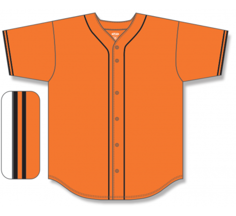 Full Button Baseball Jerseys - Orange/Black