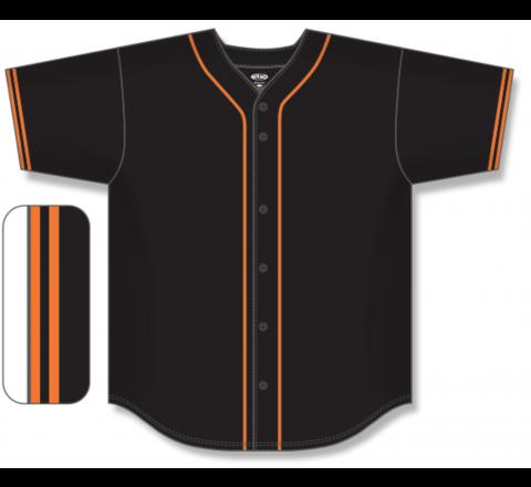 Full Button Baseball Jerseys - Black/Orange