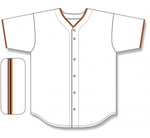 Full Button Baseball Jerseys - White/Orange/Black