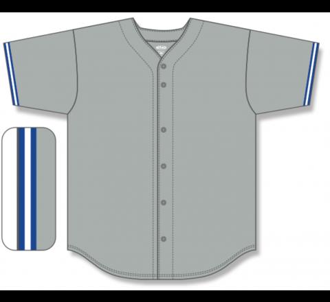 Full Button Baseball Jerseys - Grey/Royal/White