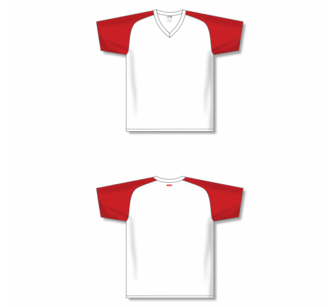Custom Screen printed Soccer Jersey - White/Red