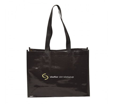 "Laminated Tote Bag - 5th Ave Woven Bag - 14"" W x 10"" H x 5.5"" D"